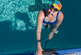 Sixteen-year-old Samantha is an accomplished Paralympics swimmer.