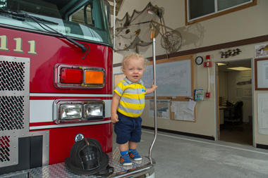Ready to take on the world, Reef could one day be a fire engine captain — like his dad.
