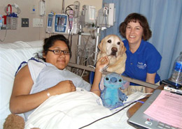 Our canine volunteers make approximately 15,000 bedside visits and 1,000 playroom visits each year!